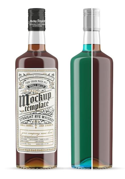 Whisky glazen fles mockup geïsoleerd Premium Psd