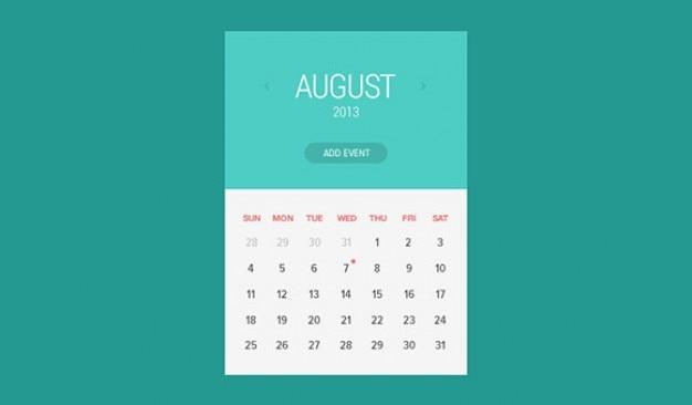 Widget di stile piatto calendario Psd Gratuite