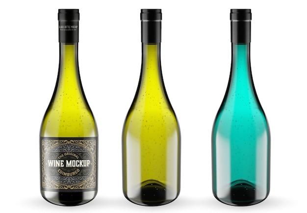 Wijn en glazen fles mockup geïsoleerd Premium Psd
