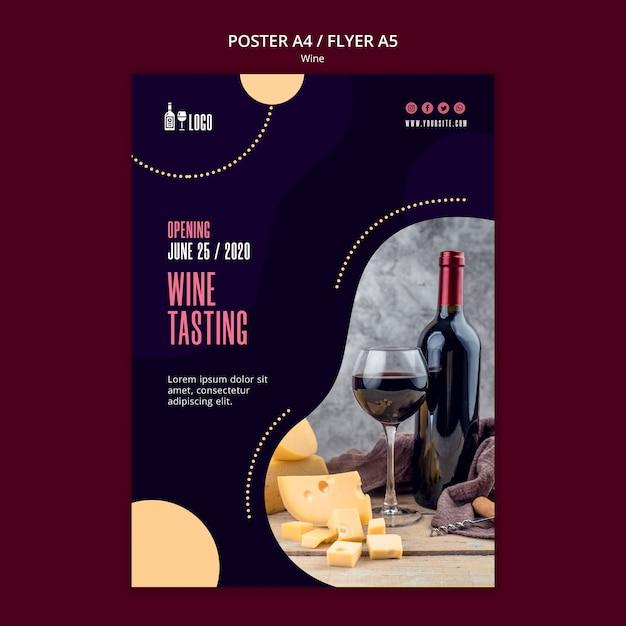 Wijn poster sjabloon Gratis Psd