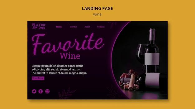Wijn promotie bestemmingspagina sjabloon Gratis Psd
