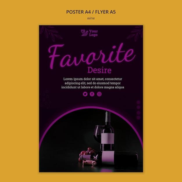 Wijn promotie folder sjabloon met foto Gratis Psd