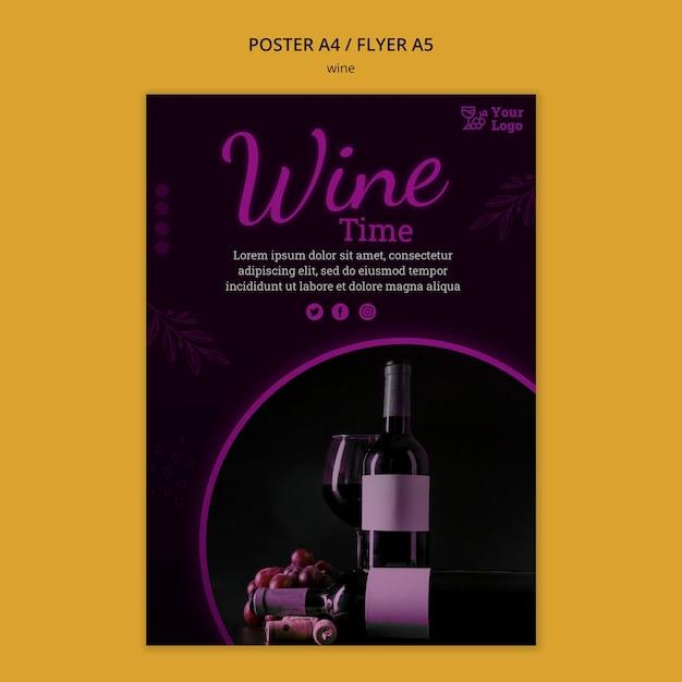 Wijn promotie poster sjabloon Gratis Psd