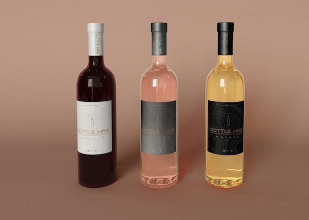 Wijnfles mockup Premium Psd