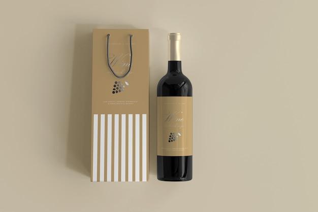 Wijnflesmodel met zak Gratis Psd