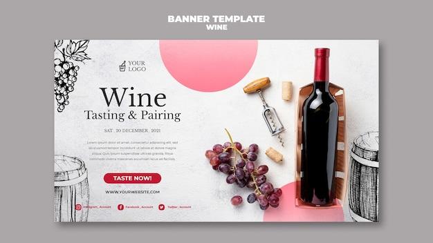 Wijnproeverij banner ontwerp Gratis Psd