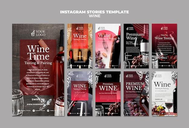 Wijnproeverij instagram verhalen sjabloon Gratis Psd