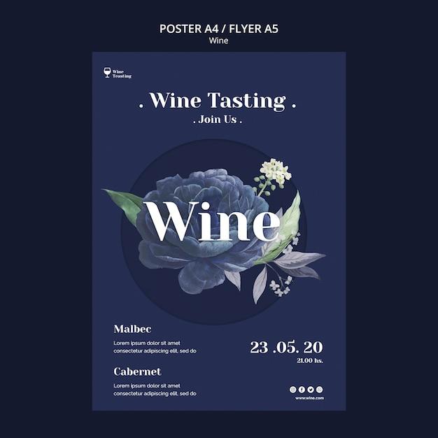 Wijnproeverij poster stijl Gratis Psd