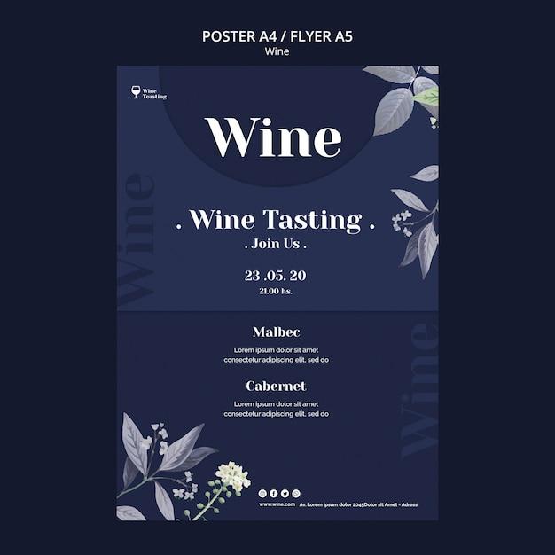 Wijnproeverij posterontwerp Gratis Psd