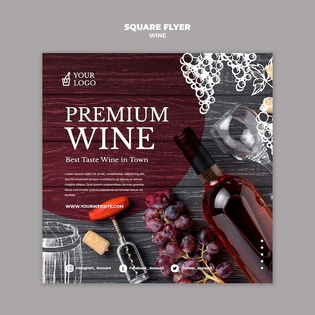 Wijnproeverij vierkant flyer sjabloonontwerp Gratis Psd