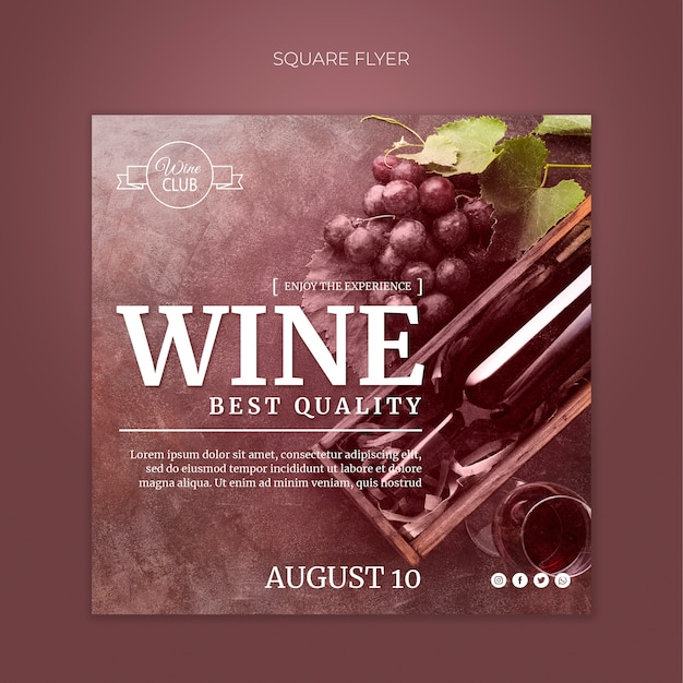 Wijnproeverij vierkante flyer-sjabloon Gratis Psd