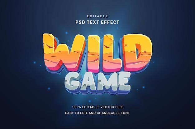 Wild game teksteffect sjabloon Premium Psd