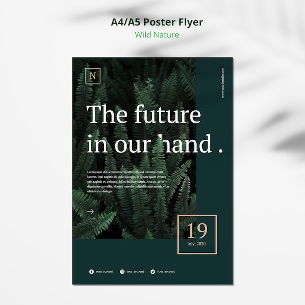 Wild natuur concept poster flyer mock-up Gratis Psd
