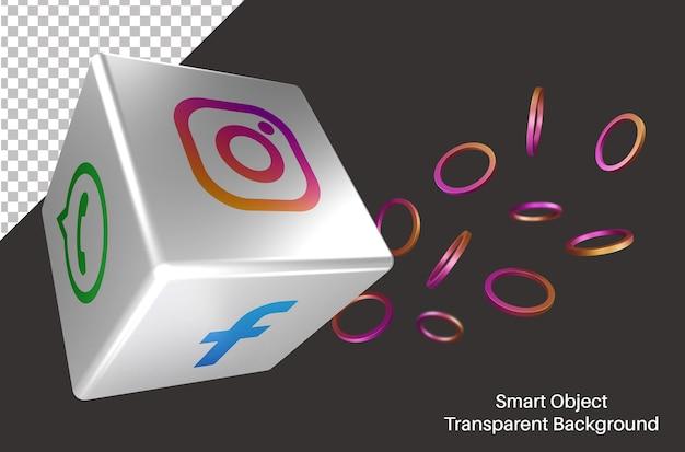 Willekeurig instagram social media-logo in 3d kubiek Premium Psd