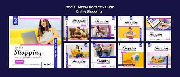 Winkelen online concept sociale media postsjabloon Gratis Psd