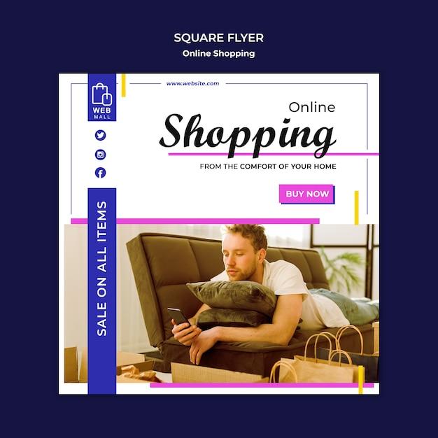Winkelen online concept vierkante flyer-sjabloon Gratis Psd