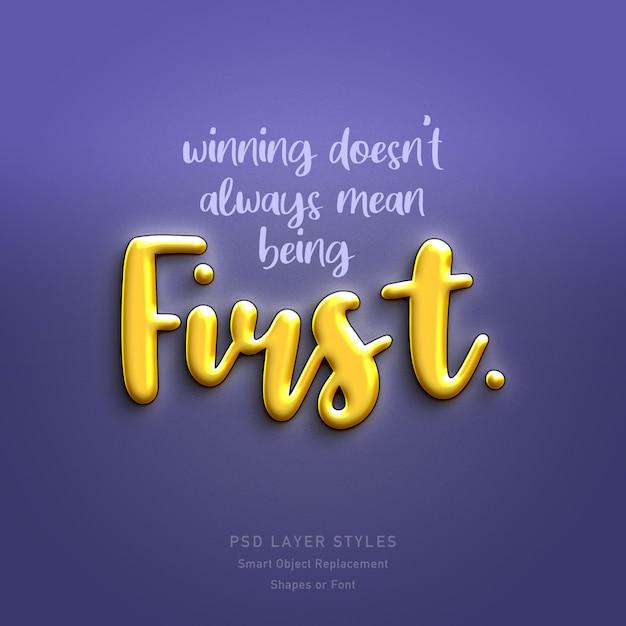 Winnen betekent niet altijd het eerste citaat zijn 3d-tekststijleffect Premium Psd
