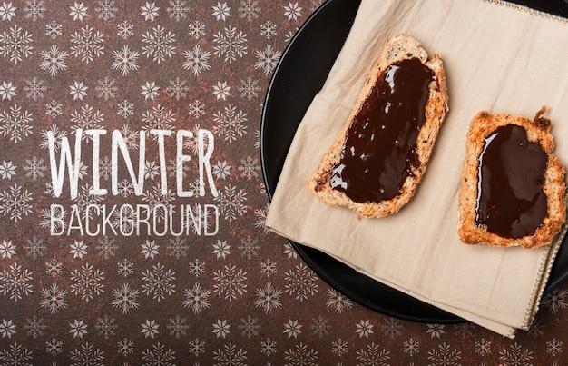 Winter breakground met ontbijt Gratis Psd