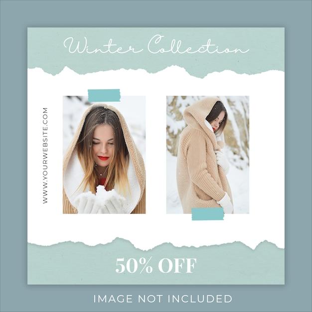 Winter fashion collection gescheurd papier sociale media sjabloon voor spandoek Premium Psd