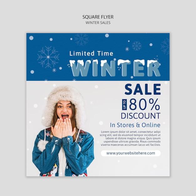 Winter verkoop flyer met korting Gratis Psd