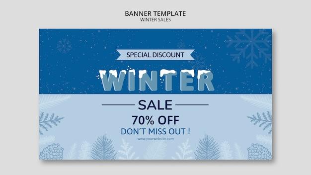 Winter verkoop in sjabloon voor spandoek Gratis Psd