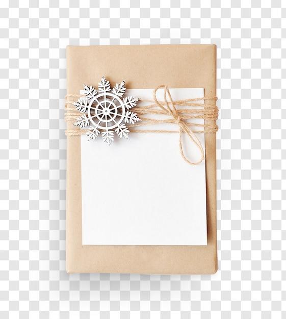 Wisheet di carta mockup e decorazione regalo di natale Psd Premium