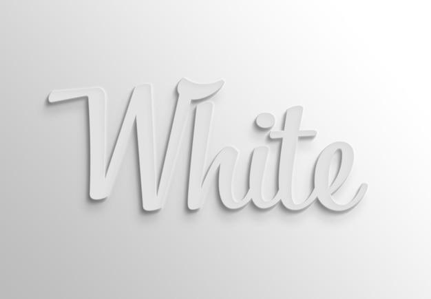 Wit 3d teksteffect met schaduw Premium Psd