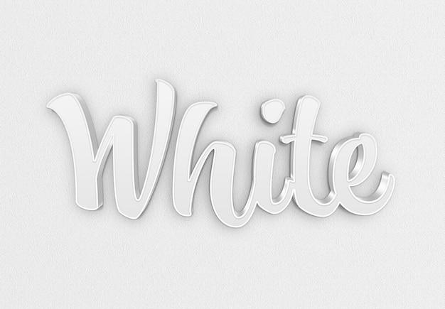 Wit 3d teksteffect met schaduwmodel Premium Psd