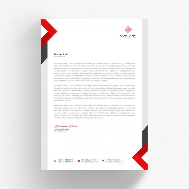 Wit briefhoofd cv-sjabloon met rode en grijze details Premium Psd
