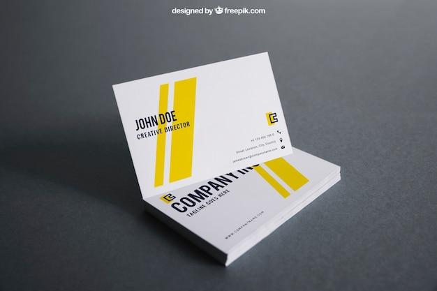 Wit en geel visitekaartjesjabloon Gratis Psd