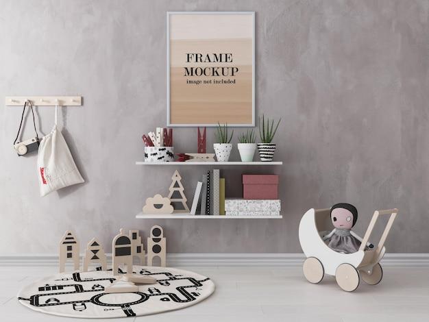 Wit frame mockup in kinderkamer Premium Psd