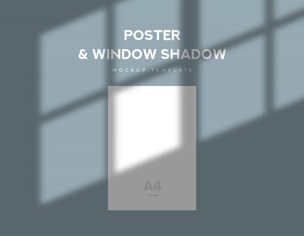 Wit vel op posterformaat met schaduw van avondvenster Premium Psd