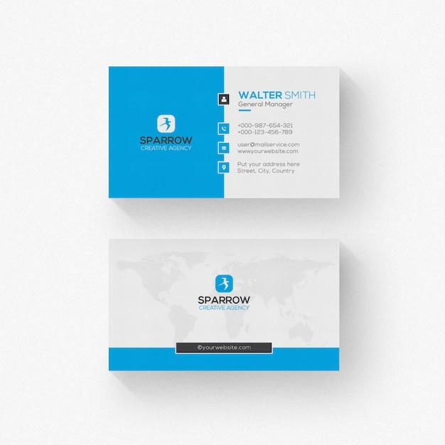 Wit visitekaartje met blauwe vormen Premium Psd