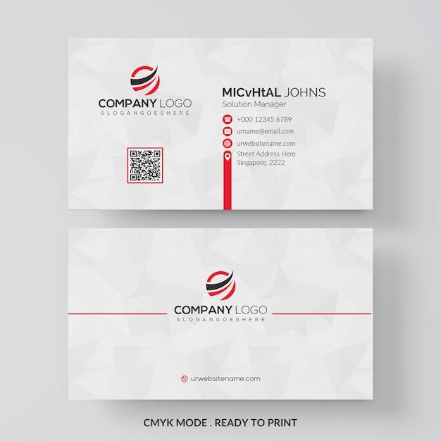 Wit visitekaartje met rode details Gratis Psd