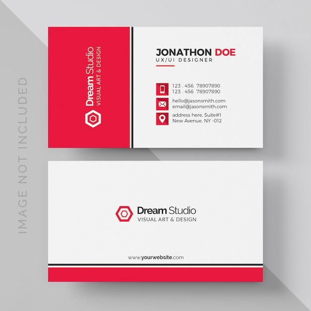 Wit visitekaartje met rode details Premium Psd