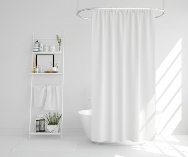 Witte badkuip met gordijn en plank Gratis Psd