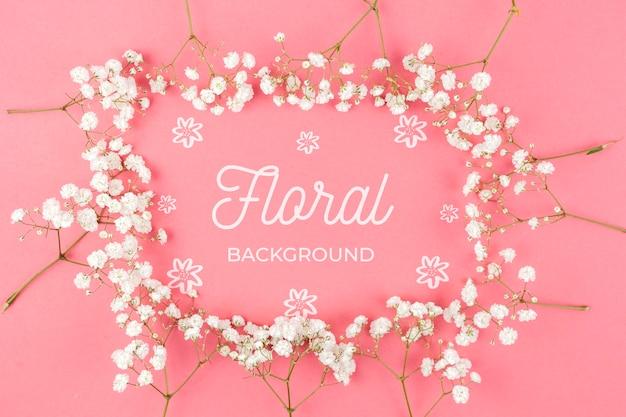 Witte bloemen frame mockup Gratis Psd