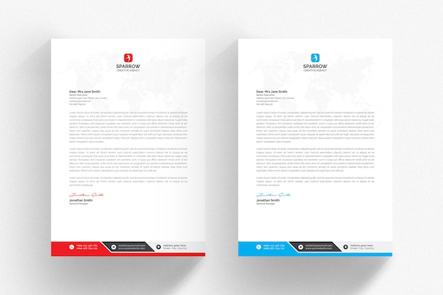 Witte briefhoofdsjabloon met blauwe en rode details Premium Psd