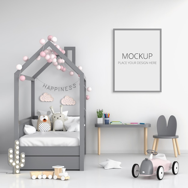 Witte kinderkamer met frame mockup Premium Psd