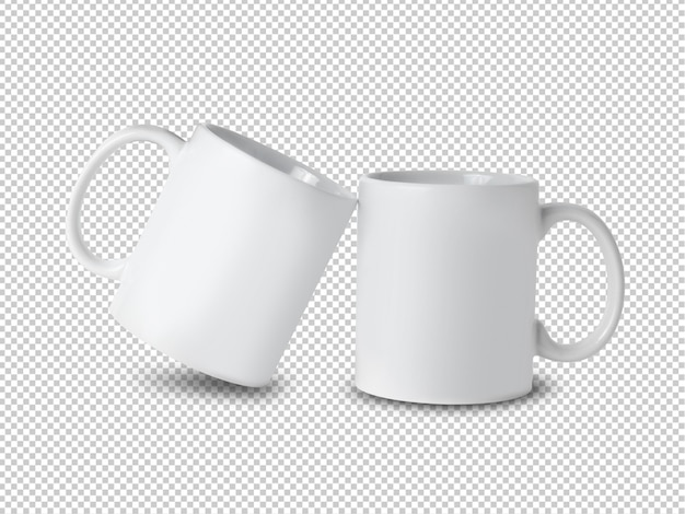 Witte mok cup mockup op transparant. Premium Psd