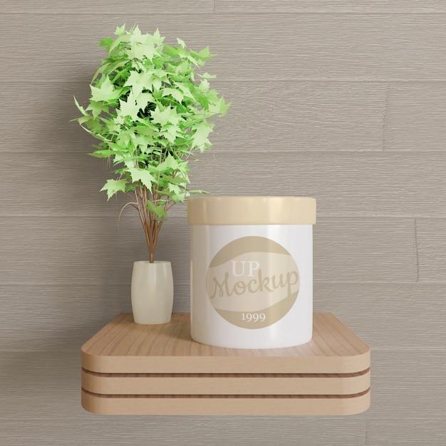 Witte pot logo mockup op het houten bureau Premium Psd