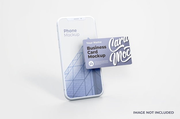 Witte smartphone met visitekaartje mockup Premium Psd