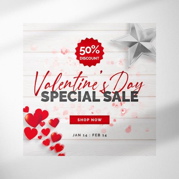 Witte valentijnsdag banner met zilveren ster en harten Premium Psd