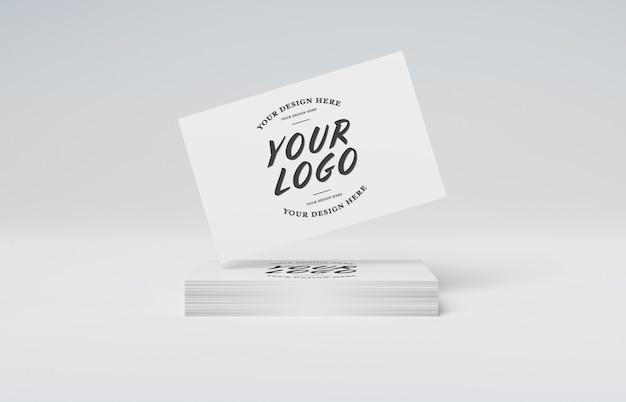 Witte visitekaartjestapel op wit mockup Premium Psd