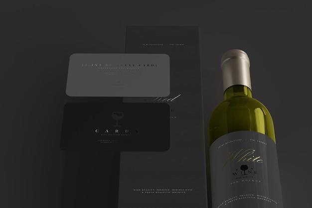 Witte wijnfles met doos en visitekaartje mockup Premium Psd