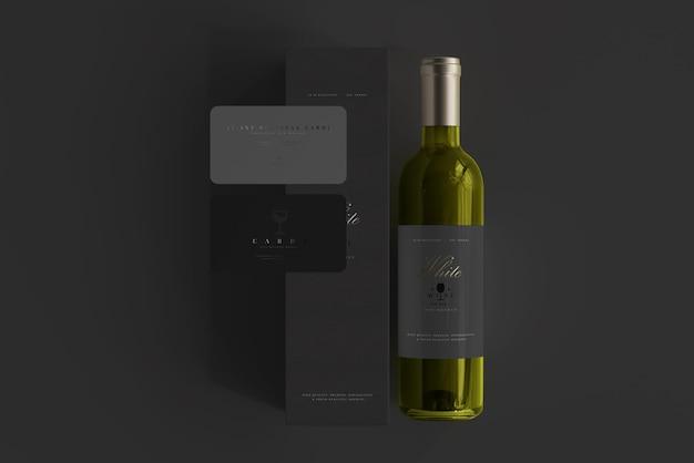 Witte wijnfles met doos en visitekaartjesmodel Premium Psd