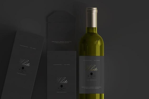 Witte wijnfles met doosmodel Premium Psd