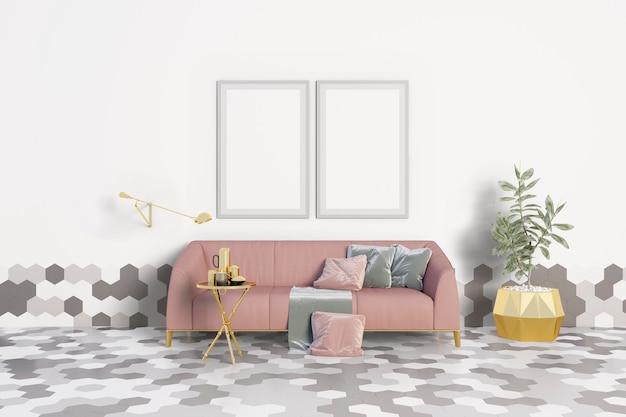 Woonkamer met een roze bank en frames Premium Psd