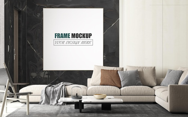 Woonkamer met groot bankframe-mockup Premium Psd