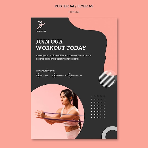 Word lid van fitness workout poster sjabloon Gratis Psd